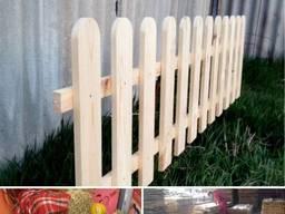 Забор деревянный, штакетник, декоративный заборчик из дерева, садовый