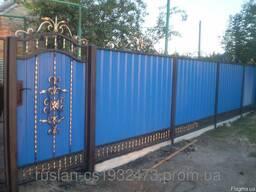 Забор и ворота из профнастила под ключ. Купить в Одессе.