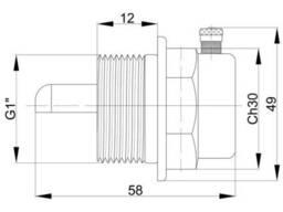 """Заглушка радиаторная Icma 1"""" с воздухоотводчиком (правая) №716"""