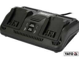 Зарядний пристрій з 2 терміналами YATO до акумуляторів Li-Ion 18 В від електромережі 230 В