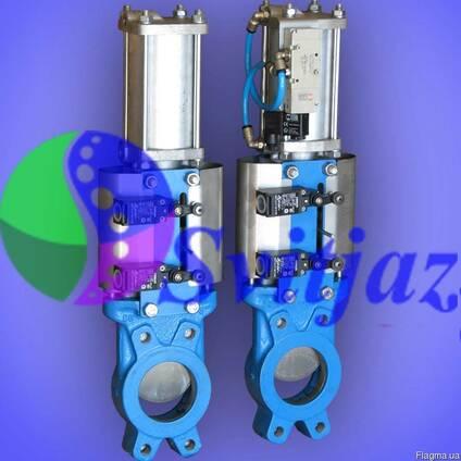 Засувка шиберна з пнемоприводом подвійної дії Ду80 Ру10