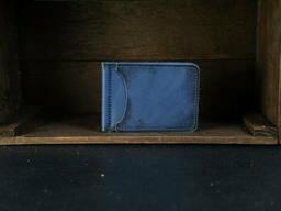 Зажим для денег Кожа Итальянский краст цвет Синий