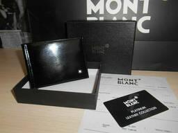 Зажим, мужской кошелек, бумажник Mont Blanc, кожа, Италия