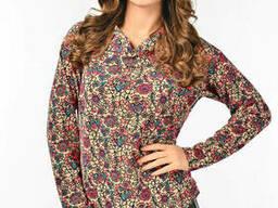Женская блуза с воротником отворотом Lipar Бежевая Батал
