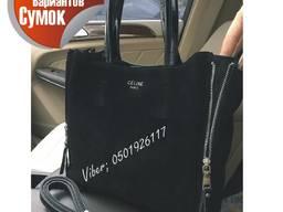 Женская кожаная сумка замш плюс кожа реплика Céline