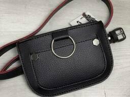Женская сумка на пояс Кэти черного с красным цвета