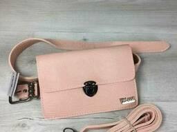 Женская сумка на пояс- клатч Арья пудрового цвета с. ..