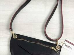 Женская сумка сумка на пояс- клатч Нана черного с красным. ..