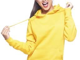 Женская толстовка с капюшоном. Цвет ярко лимонный.