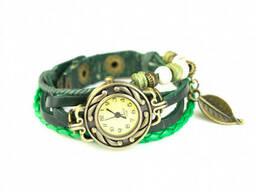 Женские часы с кожаным браслетом Листик
