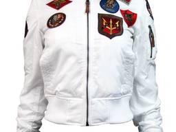 Женский бомбер Miss Top Gun B-15 flight jacket with patches (белый)