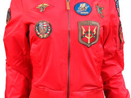 Женский бомбер Miss Top Gun MA-1 jacket with patches (красный)