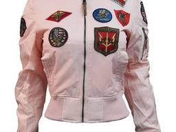 Женский бомбер Miss Top Gun MA-1 jacket with patches (розовый)