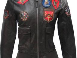 Женский бомбер Top Gun Women's Vegan Leather Bomber Jacket (коричневый)
