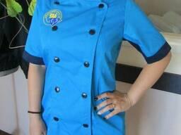 Женский китель повара голубой пошив одежды поваров