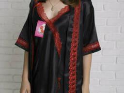 Женкий Комплект пенюар и халат с кружевом 48-50-52. ..