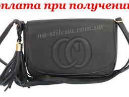 Женский кожаный клатч сумка кошелек шкіряна через плечо Guci