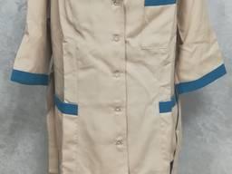 Женский медицинский костюм бежево-бирюзовый пошив мед одежды под заказ