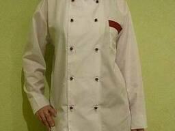 Женский поварской костюм:китель белый с бордовыми брюками