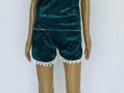 Женский велюровый комплект пижама, шорты+майка 44-50. ..