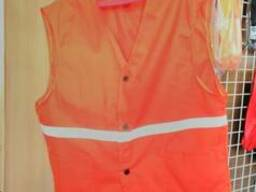 Жилет рабочий оранжевый с СВП, ткань диагональ, 100% хб