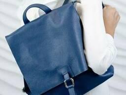 Жіночий шкіряний рюкзак Листоноша Vera Pelle Mod.277, Аквамариновий