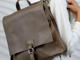 Жіночий шкіряний рюкзак Листоноша Vera Pelle Mod.277, Бежевий