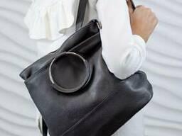 Жіночий шкіряний рюкзак-сумка Vera Pelle Mod.175, Сірий