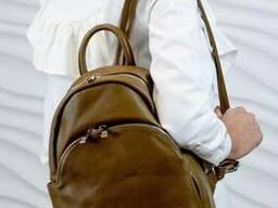 Жіночий шкіряний рюкзак Vera Pelle Mod.284, Оливковий