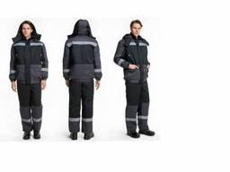 Зимний рабочий костюм серый черный, форма для азк, форма для сто