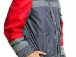 Куртка утепленная красно-серая Карпаты