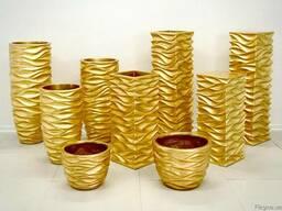 Золотые цветочные горшки. Киев стильные Горшок для цветов
