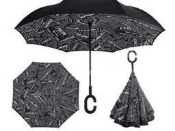 Зонт обратного сложения Up-brella Черная Газета №42