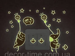 Наклейки мишка+звездочки на стену, светящиеся звезды в. ..
